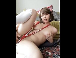 Slingkini Cat Girl Fucks Herself In Hotel