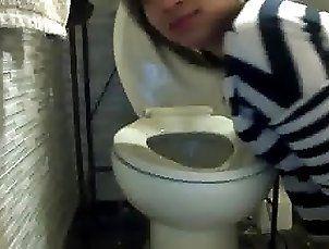 Asian Slut Danielle Licking Toilet Seat