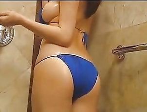 Ai Shinozaki in a Blue Bikini