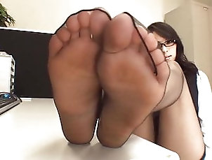 Sexy Japanese Black Pantyhose Foot Tease In Office