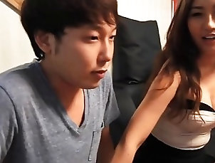 Korean girl fucks with virgin and shows him new tricks