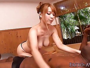 Nippon busty model plowed by big black cock