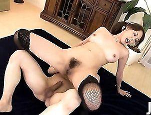 Akari Asagiri has both her holes filled as her big tits