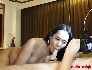 Hello LadyBoy - Sexy young Asian ladyboy enjoys big white dick