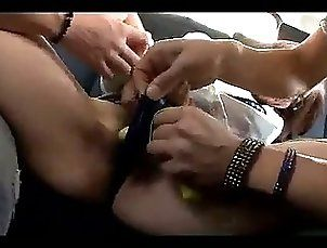 Office Lady With Glasses Getting Her Pussy Stimulated With Vibrator Fingered By 2 Guys In The Car