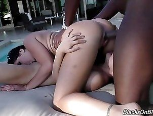 White and Asian perfect sluts sharing monster black cock